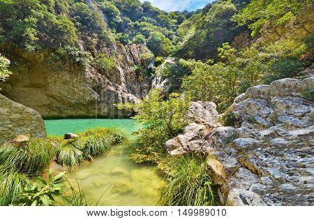 waterfalls of Polilimnio at Messinia Peloponnese Greece