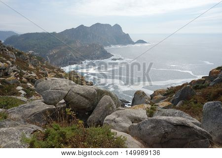 Cies Islands panorama, Vigo city , Spain