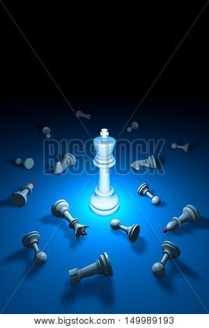 Vertical chess composition. Standing Out from the Crowd. Available in high-resolution and several sizes to fit the needs of your project. 3D rendering illustration. Black background layout with free text space.