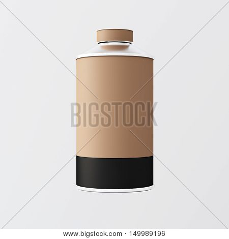 Closeup One Blank Brown Black Matte Color Metal Jar Isolated Empty Background.Clean Cup Container Mockup Ready Use Corporate Design Message.Modern Style Drinks Food Storage.Square. 3d rendering