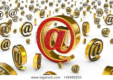 E-mail red & gold symbol. A lot of spam (email gray symbols). Isolated over white. Available in high-resolution and several sizes to fit the needs of your project. 3D illustration rendering.
