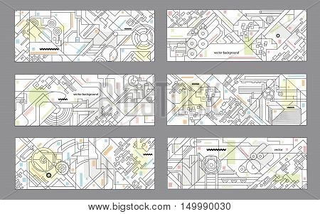 Abstract geometric background set. Vector illustration for printing and paper industry. Technical drawing of mechanisms and machine tools.