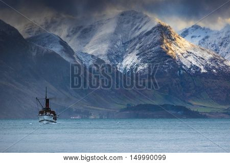 beautiful scenic of old steam engine boat in wakatipu lake queenstown south island new zealand