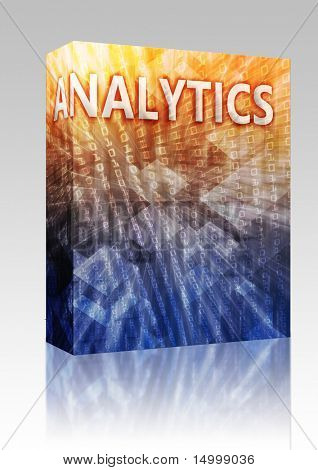 Software package box Analytics Business intellegence abstract, computer technology concept illustration