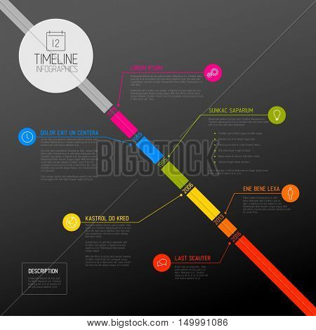 Vector Infographic diagonal timeline report template with the biggest milestones, icons, years and color buttons - dark diagonal time line version