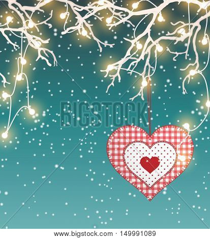 Christmas background, winter landscape with red heart in scandinavian style and electric decorative lights hanging in dry branches, vector illustration, eps 10 with transparency and gradient meshes