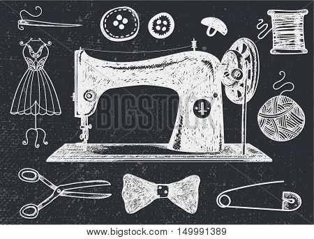 Vector set of hand drawn sewing, handcraft vintage elements. Thread for sewing, supplies and accessories. Black and white illustration