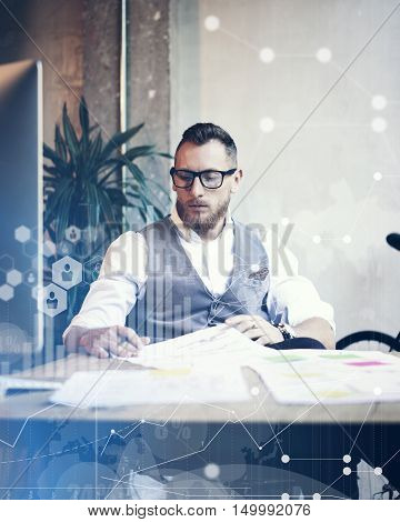 Concept Global Connection Virtual Icon Diagram Graph Interface Marketing Reserch.Bearded Businessman Making Great Business Decisions.Young Man Working Startup Desktop Computer.Blurred Vertical