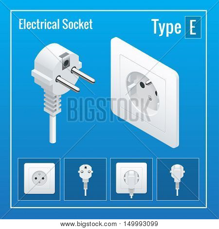 Isometric Switches and sockets set. Type E. AC power sockets realistic vector illustration