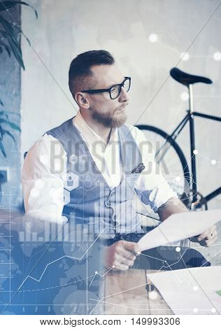 Concept Global Connection Virtual Icon Diagram Graph Interface Innovations Reserch.Bearded Businessman Making Great Business Decisions.Young Man Working Startup Desktop Computer.Blurred Vertical