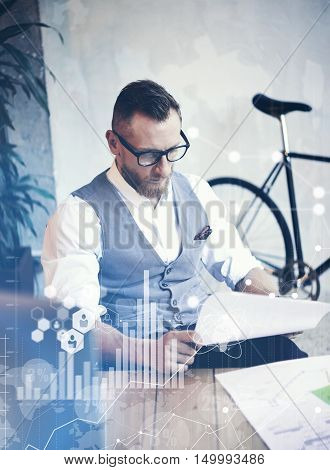 Concept Global Connection Virtual Icon Diagram Graph Interface Startup Reserch.Bearded Businessman Making Great Business Decisions.Creative Man Looking Papers Hands Table Workplace.Vertical Blurred