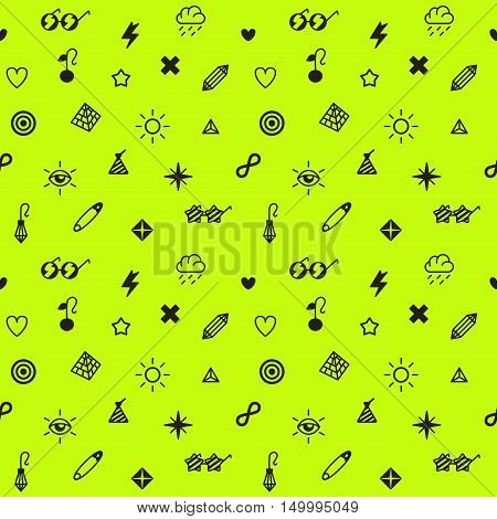 Rave punk and glam symbols seamless vector pattern in black and neon yellow green color.