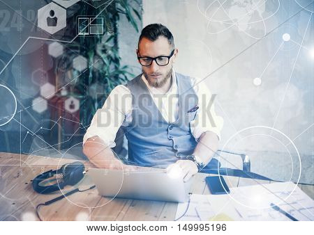 Concept Global Connection Virtual Icon Diagram Graph Interface Startup Reserch.Bearded Businessman Making Great Business Decisions.Creative Man Looking Papers Hands Table Workplace.Horizontal Blurred