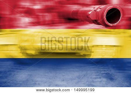 Military Strength Theme, Motion Blur Tank With Romania Flag