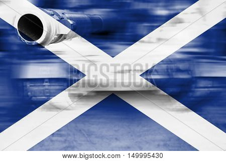 Military Strength Theme, Motion Blur Tank With Scotland Flag