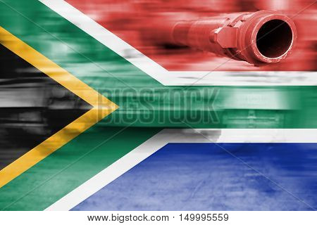 Military Strength Theme, Motion Blur Tank With South Africa Flag