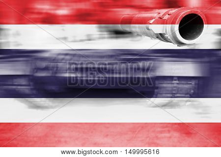 Military Strength Theme, Motion Blur Tank With Thailand Flag