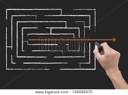 hand holding black eraser and maze. concept impossible to business possible
