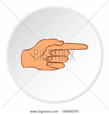Gesture with index finger icon in cartoon style on white circle background. Gestural symbol vector illustration