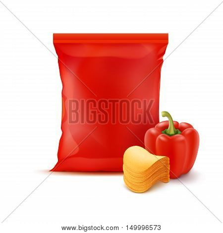 Vector Stack of Potato Crispy Chips with Paprika and Vertical Sealed Empty Red Plastic Foil Bag for Package Design Close up Isolated on White Background