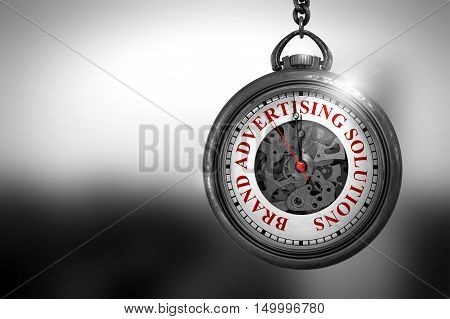 Brand Advertising Solutions Close Up of Red Text on the Vintage Pocket Watch Face. Business Concept: Vintage Pocket Clock with Brand Advertising Solutions - Red Text on it Face. 3D Rendering.