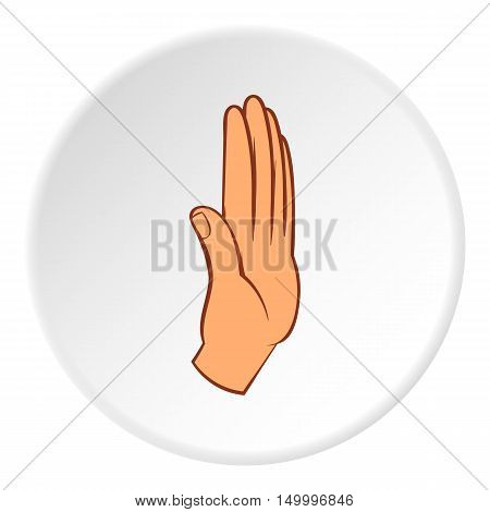 Palm up icon in cartoon style on white circle background. Gestural symbol vector illustration