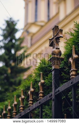 Old wrought iron fence in an church yard