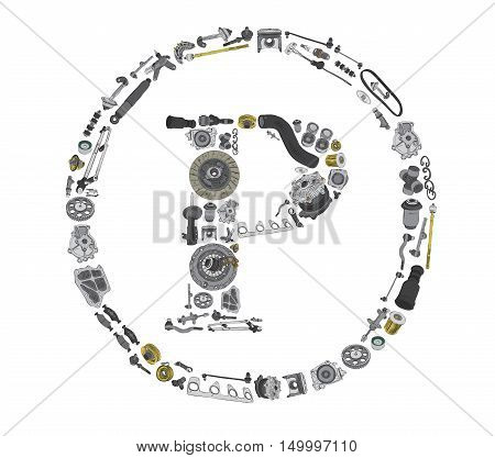 Copyright icone with auto spare parts for car