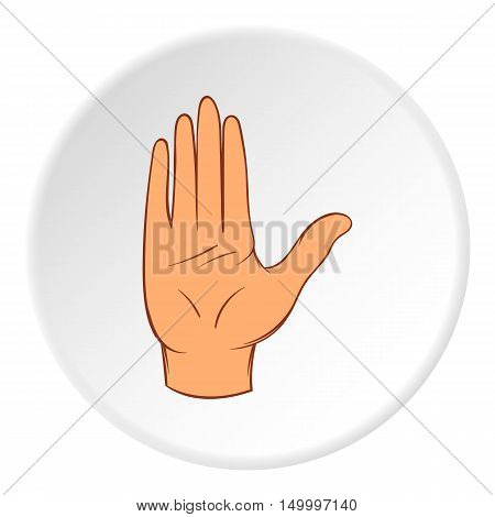 Open palm icon in cartoon style on white circle background. Gestural symbol vector illustration