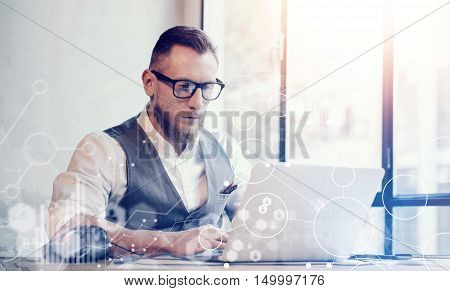 Concept Global Strategy Virtual Icon Diagram Graph Interface Investments Reserch.Bearded Businessman Workin Great Business Decisions.Young Man Work Laptop Startup Project. Blurred Horizontal