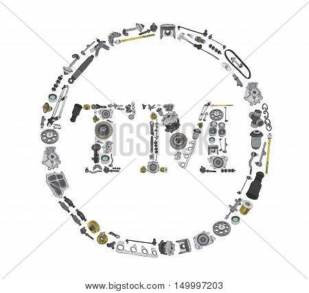 Many auto parts isolated in Trade Mark icone