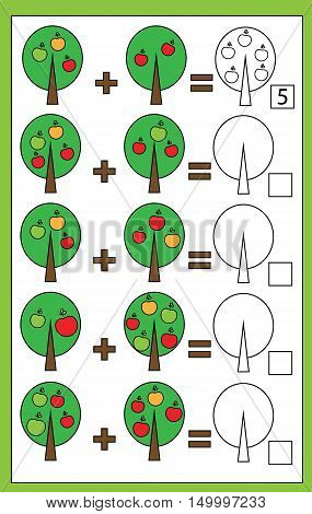 Mathematics educational game for children. Learning counting addition worksheet for kids