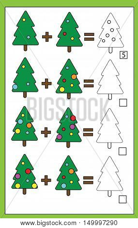 Mathematics educational game for children. Learning counting, addition worksheet for kids, christmas theme