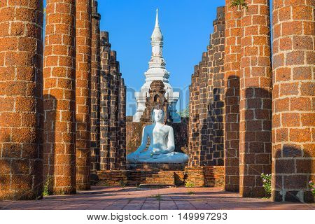 The Grand Hall Of Wat Maha That Temple In Sukhothai Province, Thailand - A Unesco World Heritage Sit