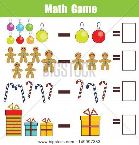 Mathematics educational game for children. Learning subtraction worksheet for kids, christmas theme