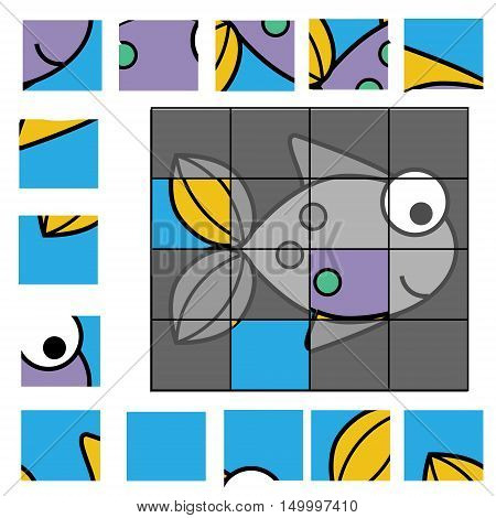 Educational puzzle game for children. Kids activity sheet with fish character, restore the picture with mosaic pieces