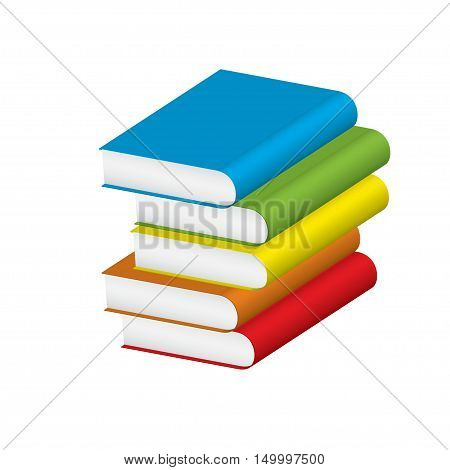 Five textbooks for education on a white background. Vector illustration