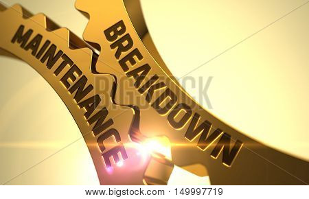 Breakdown Maintenanceon the Golden Metallic Cog Gears. 3D.