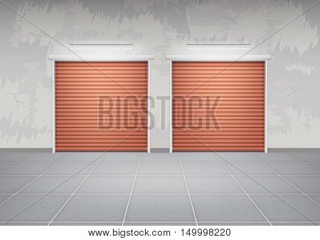 Shutter door or roller door and concrete floor outside building use for background.