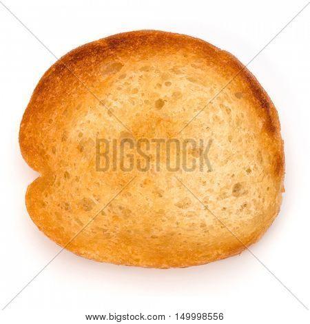 Crusty bread toast slice isolated on white background