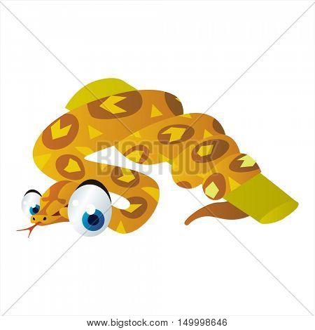 vector comic cute animal illustration. Comic funny cool colorful Boa
