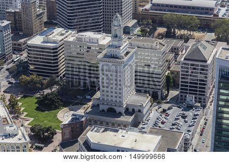 Oakland, California, USA - September 19, 2016:  Afternoon aerial view of Oakland city hall.