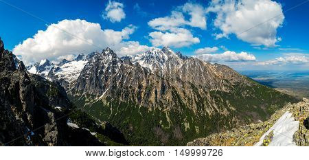 Panoramic landscape of the rugged snowy mountains. Clouds on the sky. High Tatras Slovakia