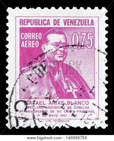 VENEZUELA - CIRCA 1961 : Cancelled postage stamp printed by Venezuela, that shows Rafael Arias Blanco.