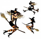 Постер, плакат: witch on broom flight witch cheerful witch image of halloween