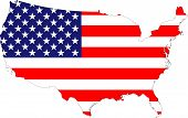 stock photo of the united states america  - The USA stars and stripes old glory flag placed over a map of the United States of America - JPG
