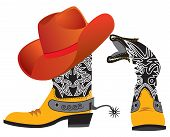 Vector Shoes And Hat For Cowboy On White. Special Clothes