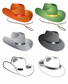 Cowboy Hats Vector Illustration On White Background