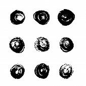Постер, плакат: Vector Set Of Various Grunge Circle Brush Strokes