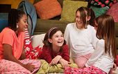 picture of foursome  - Group of happy young girls at a sleepover - JPG